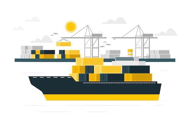 Containerschiff-konzeptillustration