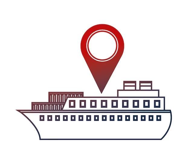 Containerschiff-versandzeiger-kartenstandort