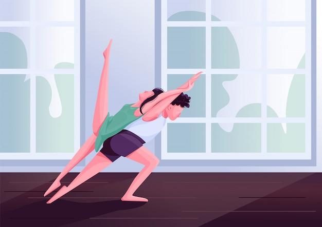 Contemp tänzer bewegungen farbillustration. zeitgenössische partner tanzen männliche und weibliche darsteller zeichentrickfiguren. leute am tanzkurs mit studiofenstern auf hintergrund