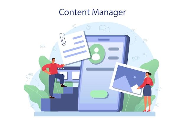 Content-management-konzept. idee einer digitalen strategie und von inhalten für die erstellung sozialer netzwerke. kommunikation mit kunden in sozialen medien. isolierte flache illustration