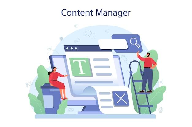 Content-management-konzept. idee einer digitalen strategie und von inhalten für die erstellung sozialer netzwerke. kommunikation mit kunden in sozialen medien.