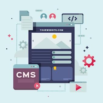 Content management system konzept flach