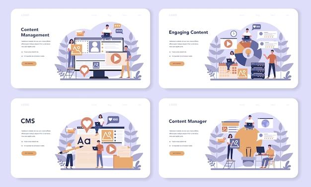 Content-management-web-landingpage-set. idee einer digitalen strategie und von inhalten für die erstellung sozialer netzwerke. kommunikation in sozialen medien. isolierte flache illustration