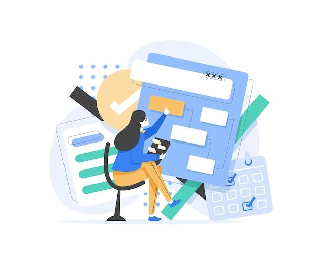 Content manager bei der arbeit hand gezeichnet, arbeiter beschäftigt mit marketing-analyse illustration