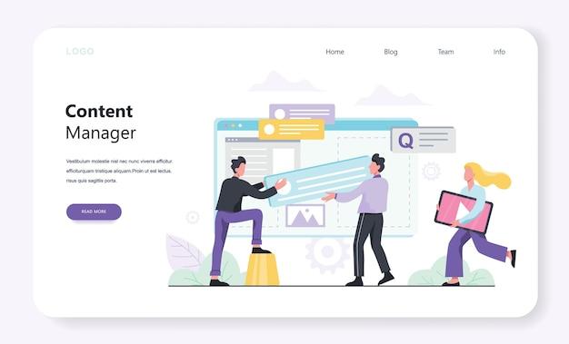 Content manager-konzept. erstellen und teilen sie inhalte im internet. idee von social media und netzwerk. feedback, kommunikation und popularität. illustration