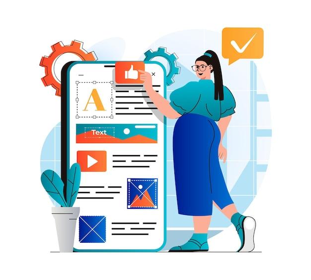 Content-manager-konzept im modernen flachen design frau platziert elemente füllt site-bilder