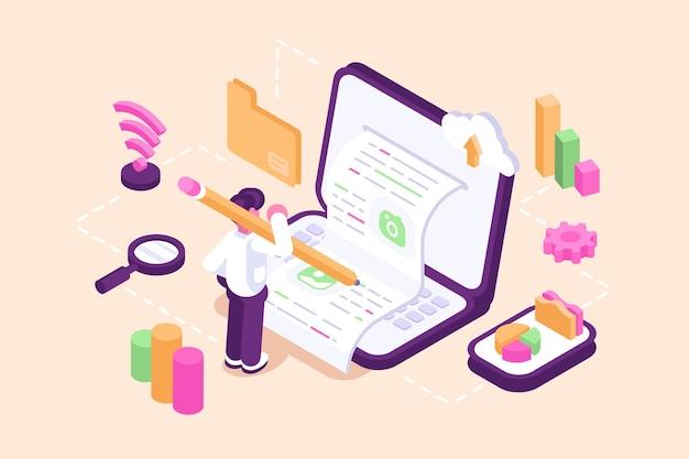 Content-marketing-erstellung mit blogger-charakterillustration Premium Vektoren