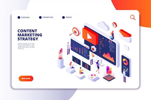 Content marketing landing page. inhaltserstellungsspezialist und artikelschreiber. isometrisches konzept des schreibdienstes