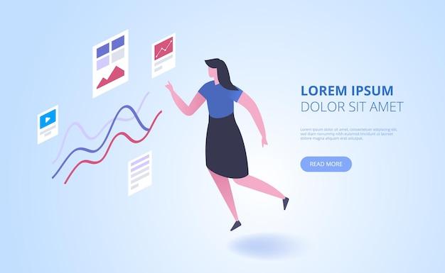 Content-marketing-landingpage-vektorvorlage. business school, homepage-schnittstellenidee für bildungskurse mit isometrischen illustrationen. finanzielle, wirtschaftliche analyse webbanner 3d-konzept