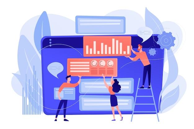 Content marketing manager, spezialist, analyst arbeiten an websites für das publikum. content marketing, arbeitsinhalte, seo-optimierungstool-konzept. isolierte illustration des rosa korallenblauvektors Kostenlosen Vektoren