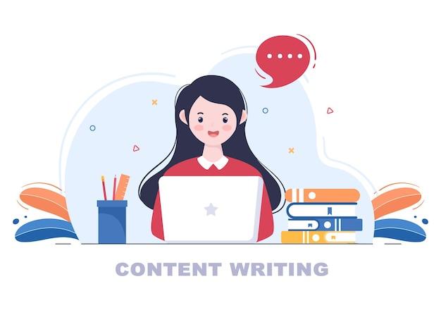 Content writer oder journalist background vector illustration für copy writing, forschung, entwicklungsidee und roman- oder buchskript im flachen stil
