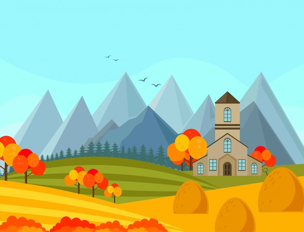 Contryside herbstsaison mit bergen hintergrund vektor-illustration