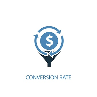 Conversion-rate-konzept 2 farbiges symbol. einfache blaue elementillustration. conversion-rate-konzept-symbol-design. kann für web- und mobile ui/ux verwendet werden