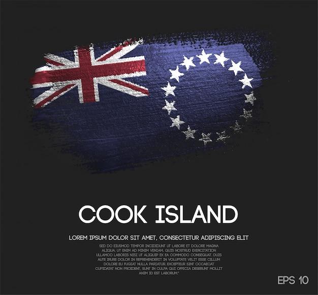 Cook islands flagge aus glitzer sparkle pinsel farbe