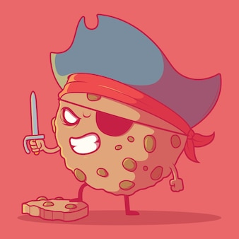 Cookie pirate charakter lebensmittelmarke lustig