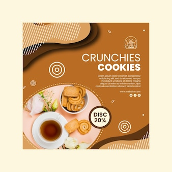 Cookies im quadrat flyer vorlage