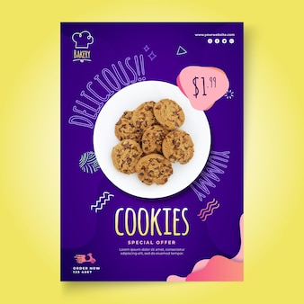 Cookies vertikale flyer vorlage