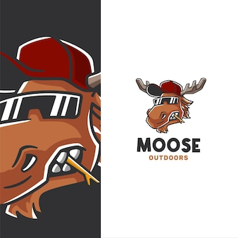 Cool aussehender elch mit hut im freien logo-vorlage