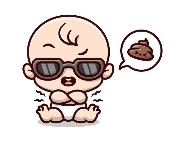 Cool baby boy trägt schwarze sonnenbrille und kack in seinen windeln cartoon-illustration
