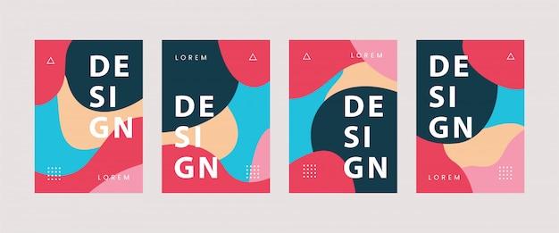 Coole abstrakte flüssige kurvige hintergrundmuster abdeckung für bücher, e-books für kreativindustrie bundle set