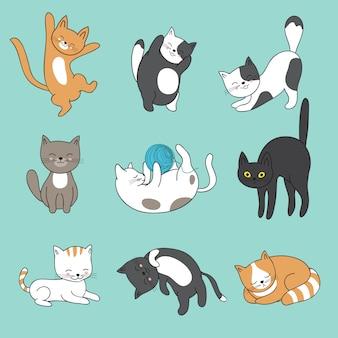 Coole abstrakte katzencharaktere des gekritzels. hand gezeichnete karikaturkätzchen