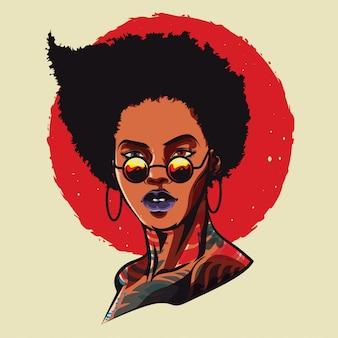 Coole afro-mädchen-illustration