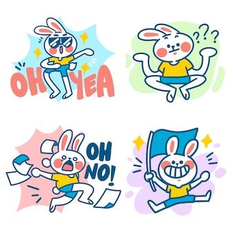Coole ausdrucksstarke kleine kaninchen-illustration
