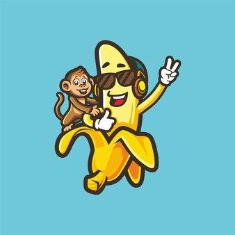 Coole banane und kleiner affe tragen sonnenbrille und kopfhörer