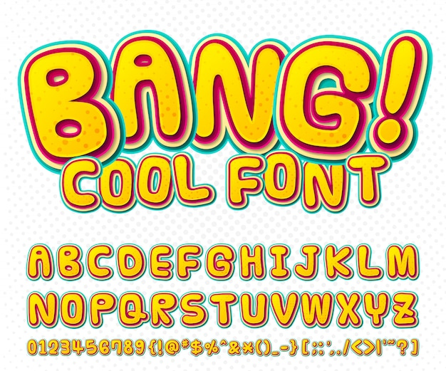 Coole comic-schrift, kinder-alphabet im comic-stil, pop-art. mehrschichtige lustige bunte buchstaben und zahlen