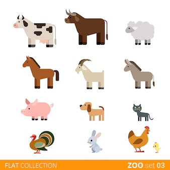 Coole flache design trendige stil tiere icon set. flache zoo kinder wilde bauernhof haustier cartoon-sammlung. kuh stier schaf pferd ziege schwein hund katze haustiere truthahn kaninchen hase henne huhn.
