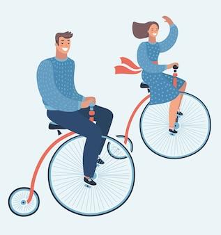 Coole glückliche junge mann und frau charaktere paar fahren tandem fahrrad | junges hipsterpaar, das zwillingsrad reitet, lacht glücklich