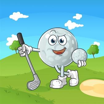 Coole golfball-zeichentrickfigur