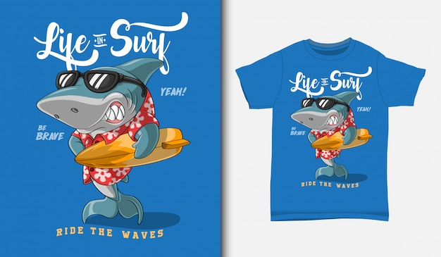 Coole hai-surf-illustration mit t-shirt-design, hand gezeichnet