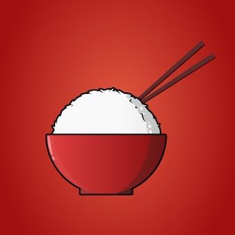 Coole japanische rote reisschüssel mit stäbchenillustration