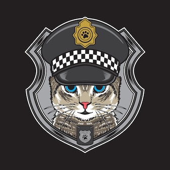 Coole katze, die weinlese-polizeihutillustration trägt