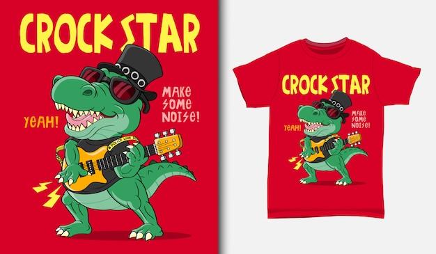 Coole krokodil-rockstar-illustration mit t-shirt-design, hand gezeichnet