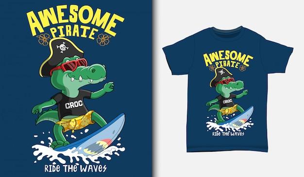 Coole krokodil-surfillustration mit t-shirt-design, hand gezeichnet