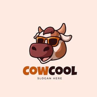 Coole kuh cartoon logo illustration kreativ funky