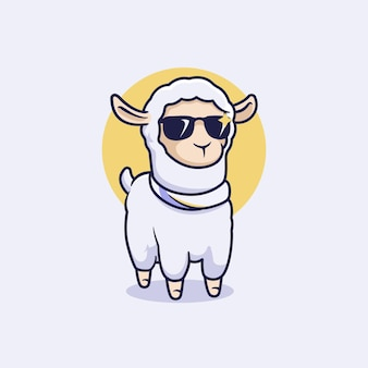 Coole lama-vektor-maskottchen-illustration