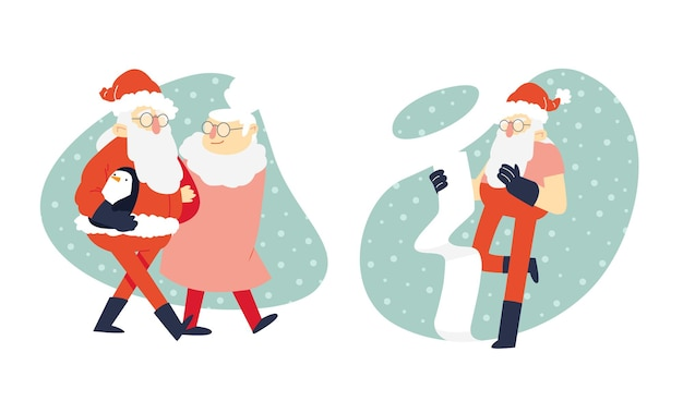 Coole santa illustrationsszenen