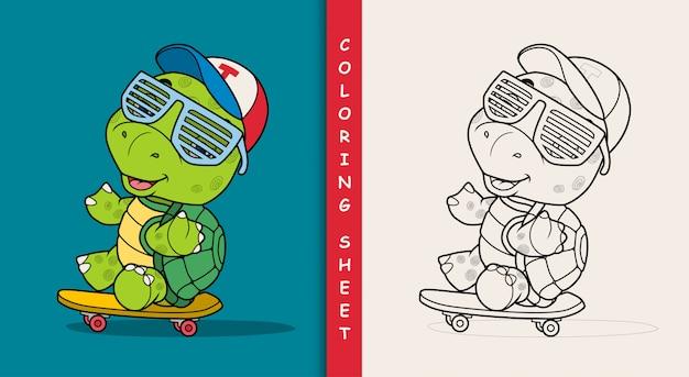 Coole schildkröte, die skateboard spielt. malvorlage.