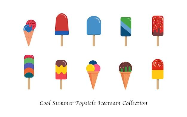 Coole sommerliche eis am stieleis süße bunte dessertkollektion