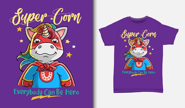 Coole superhelden-einhornillustration mit t-shirt design, hand gezeichnet