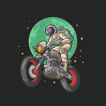Cooler astronaut, der motorradillustrationsvektor fährt