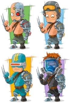 Cooler cyborg-soldatcharakter der karikatur