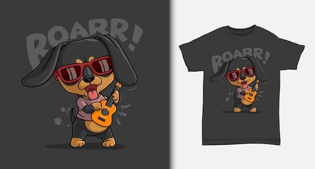 Cooler dackel, der gitarre mit t-shirt design spielt