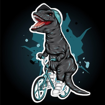 Cooler dinosaurier auf einem fahrrad.