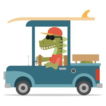 Cooler dinosaurier, der einen pickup mit einem surfbrett fährt. cartoon-stil. illustration. flacher designstil.