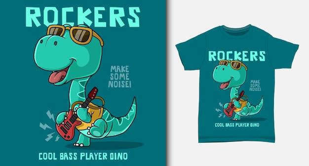 Cooler dinosaurier, der gitarre spielt. mit t-shirt design.