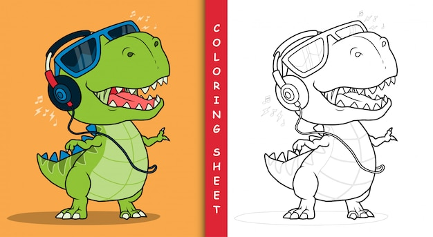 Cooler dinosaurier, der musik mit kopfhörern hört